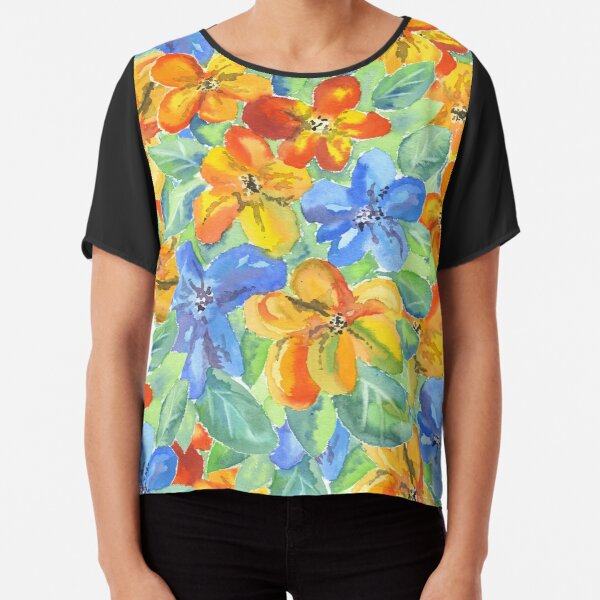 Watercolor Hand-Painted Orange Blue Tropical Flowers Chiffon Top