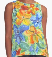 Watercolor Hand-Painted Orange Blue Tropical Flowers Contrast Tank