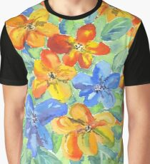 Watercolor Hand-Painted Orange Blue Tropical Flowers Graphic T-Shirt