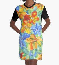 Watercolor Hand-Painted Orange Blue Tropical Flowers Graphic T-Shirt Dress