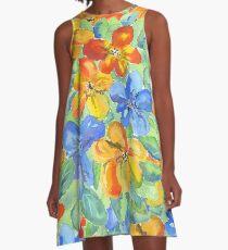 Watercolor Hand-Painted Orange Blue Tropical Flowers A-Line Dress