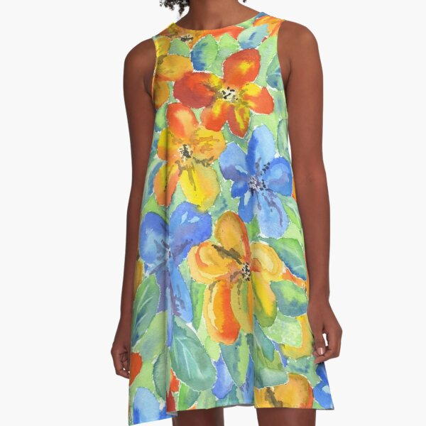 Watercolor Hand-Painted Orange Blue Tropical Flowers A-Line Dress