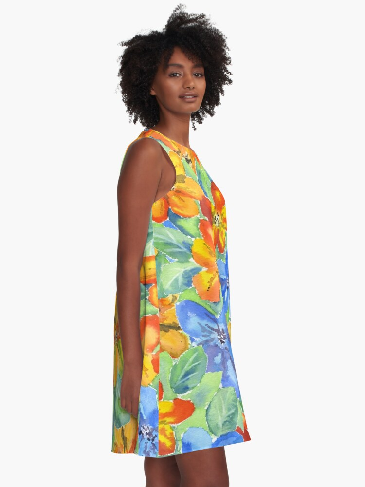 Alternate view of Watercolor Hand-Painted Orange Blue Tropical Flowers A-Line Dress