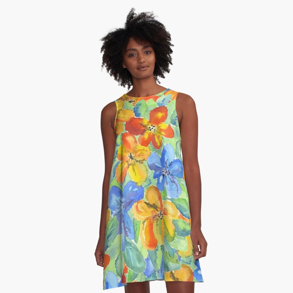 Watercolor Hand-Painted Orange Blue Tropical Flowers A-Line Dress Front