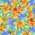 Watercolor Hand-Painted Orange Blue Tropical Flowers by Beverly Claire Kaiya