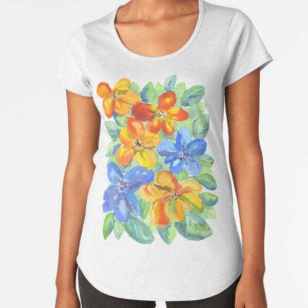 Watercolor Hand-Painted Orange Blue Tropical Flowers Premium Scoop T-Shirt