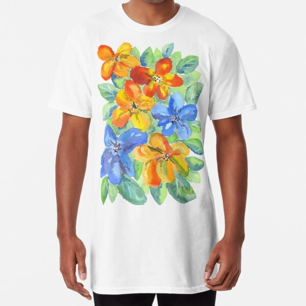 Watercolor Hand-Painted Orange Blue Tropical Flowers Long T-Shirt
