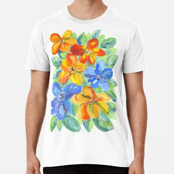 Watercolor Hand-Painted Orange Blue Tropical Flowers Premium T-Shirt