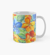 Watercolor Hand-Painted Orange Blue Tropical Flowers Classic Mug