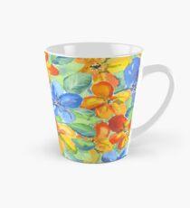 Watercolor Hand-Painted Orange Blue Tropical Flowers Tall Mug