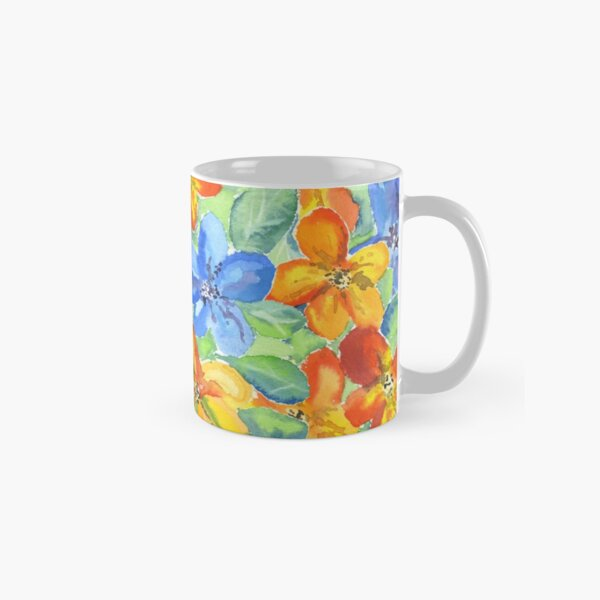 Watercolor Hand-Painted Orange Blue Tropical Flowers Classic Mug