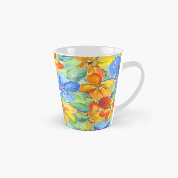 Watercolor Hand-Painted Orange Blue Tropical Flowers Tall Mug