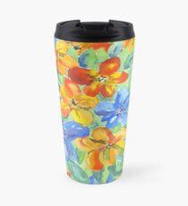 Watercolor Hand-Painted Orange Blue Tropical Flowers Travel Mug