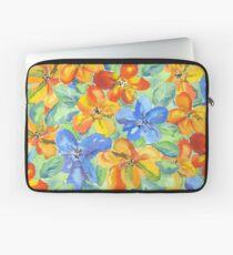 Watercolor Hand-Painted Orange Blue Tropical Flowers Laptop Sleeve
