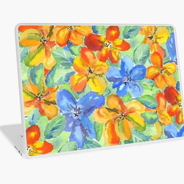 Watercolor Hand-Painted Orange Blue Tropical Flowers Laptop Skin