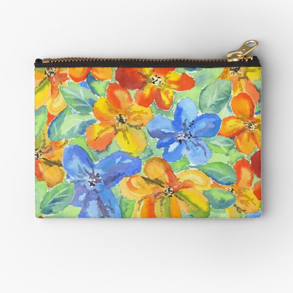 Watercolor Hand-Painted Orange Blue Tropical Flowers Zipper Pouch