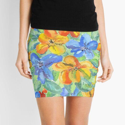 Watercolor Hand-Painted Orange Blue Tropical Flowers Mini Skirt