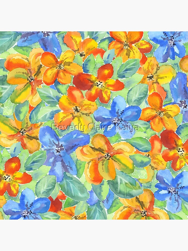 Watercolor Hand-Painted Orange Blue Tropical Flowers by beverlyclaire