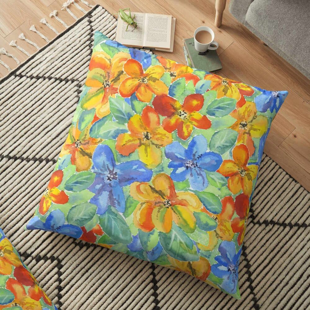 Watercolor Hand-Painted Orange Blue Tropical Flowers Floor Pillow