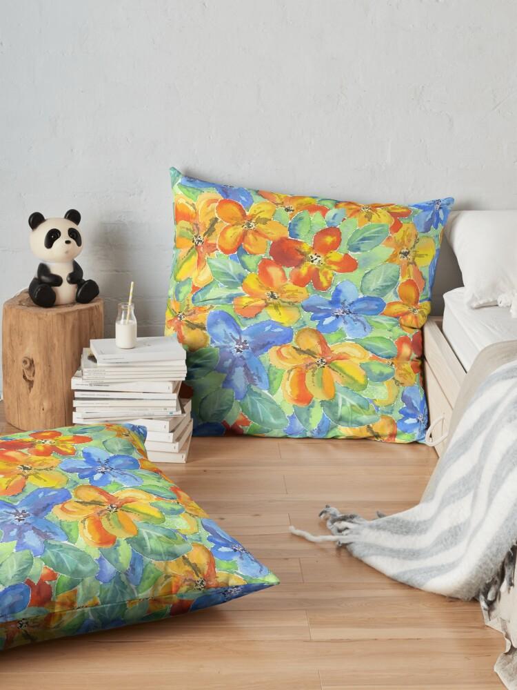 Alternate view of Watercolor Hand-Painted Orange Blue Tropical Flowers Floor Pillow
