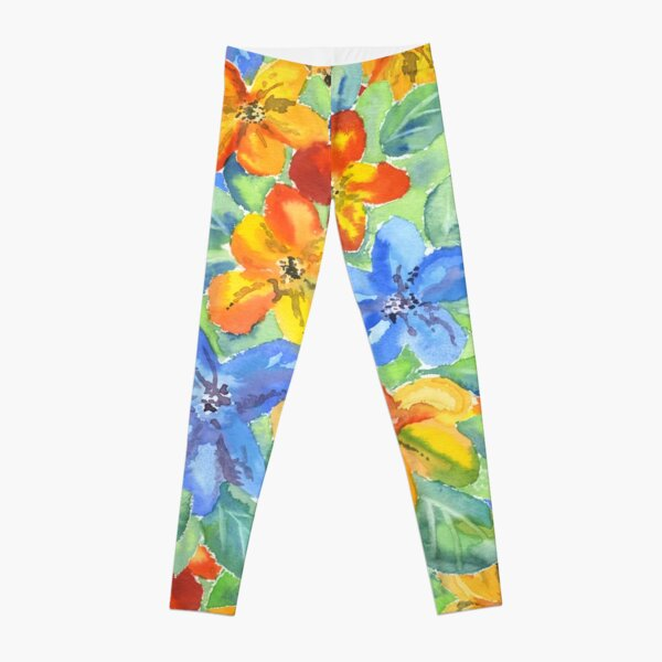 Watercolor Hand-Painted Orange Blue Tropical Flowers Leggings
