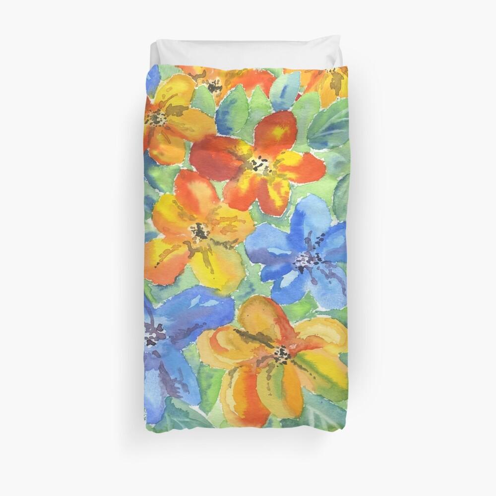 Watercolor Hand-Painted Orange Blue Tropical Flowers Duvet Cover
