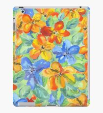 Watercolor Hand-Painted Orange Blue Tropical Flowers iPad Case/Skin