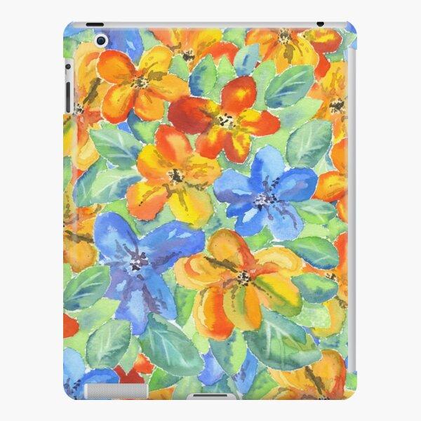 Watercolor Hand-Painted Orange Blue Tropical Flowers iPad Snap Case