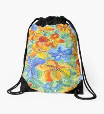 Watercolor Hand-Painted Orange Blue Tropical Flowers Drawstring Bag
