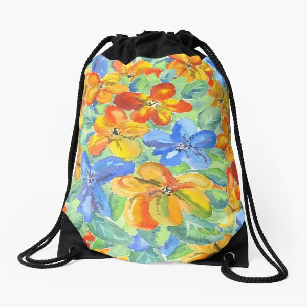 Watercolor Hand-Painted Orange Blue Tropical Flowers Drawstring Bag