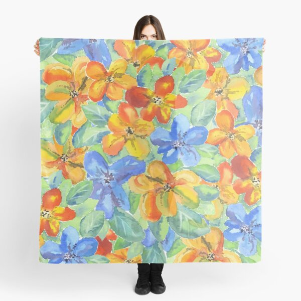 Watercolor Hand-Painted Orange Blue Tropical Flowers Scarf