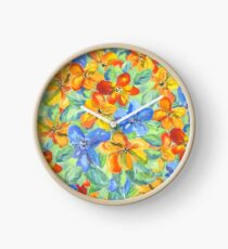 Watercolor Hand-Painted Orange Blue Tropical Flowers Clock