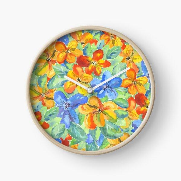 Watercolor Hand-Painted Orange Blue Tropical Flowers Clock