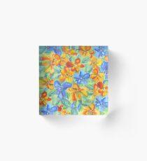 Watercolor Hand-Painted Orange Blue Tropical Flowers Acrylic Block