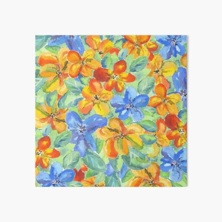 Watercolor Hand-Painted Orange Blue Tropical Flowers Art Board Print