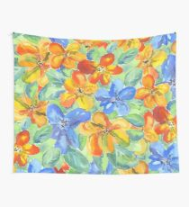Watercolor Hand-Painted Orange Blue Tropical Flowers Wall Tapestry