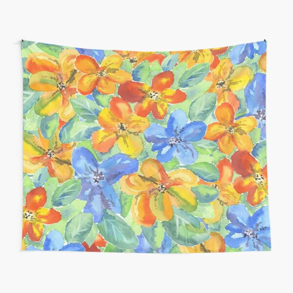 Watercolor Hand-Painted Orange Blue Tropical Flowers Tapestry