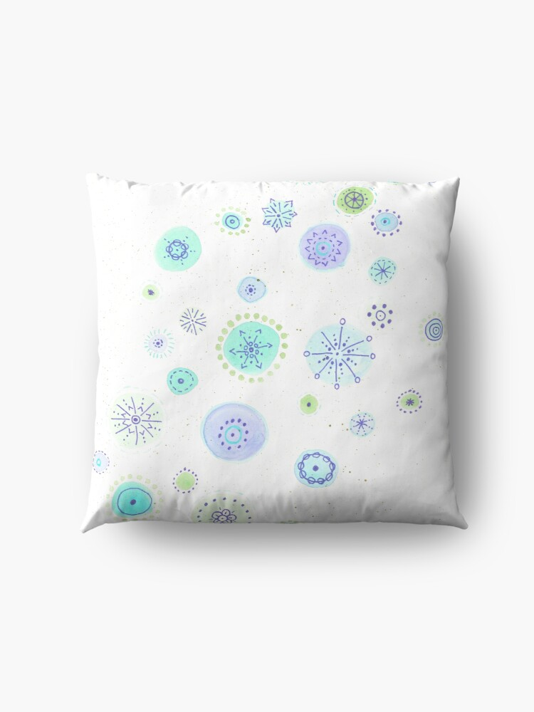 Alternate view of Green and purple abstract circles Floor Pillow
