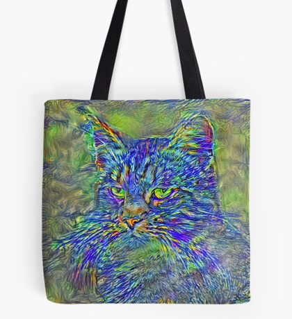 Artificial neural style Post-Impressionism cat Tote Bag
