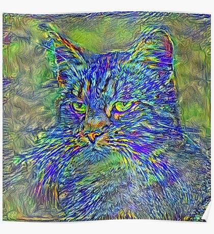 Artificial neural style Post-Impressionism cat Poster