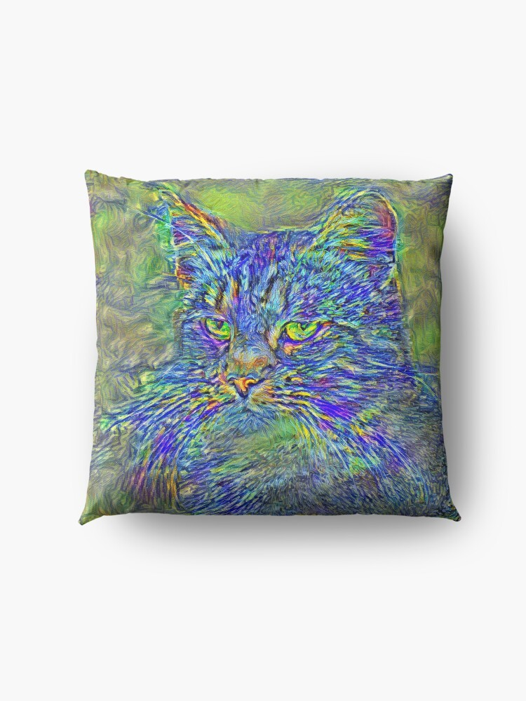 Alternate view of Artificial neural style Post-Impressionism cat Floor Pillow