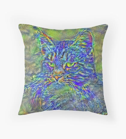 Artificial neural style Post-Impressionism cat Floor Pillow