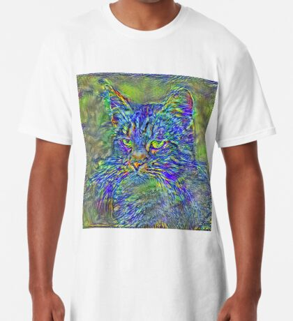 Artificial neural style Post-Impressionism cat Long T-Shirt