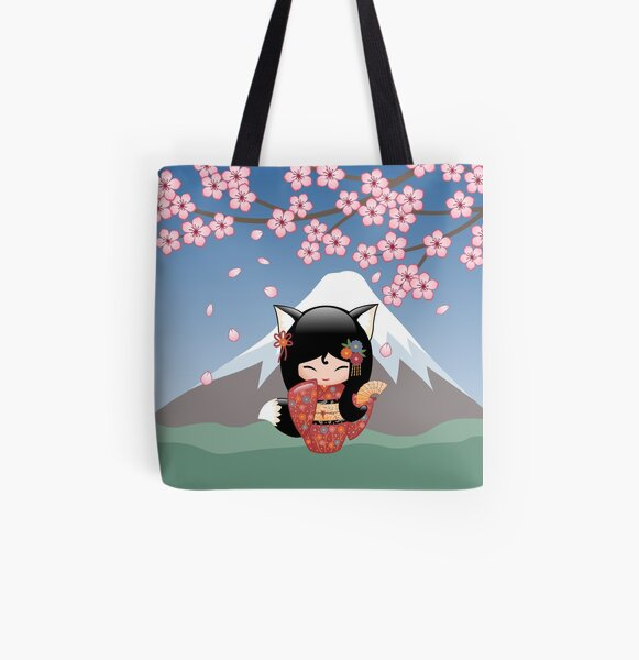 Japanese Kitsune Kokeshi Doll All Over Print Tote Bag