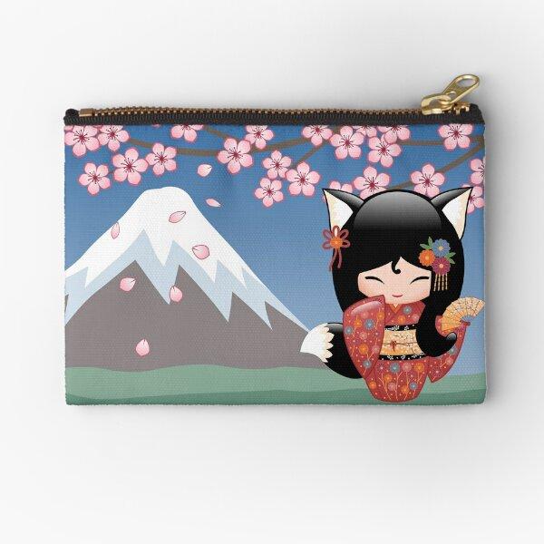 Japanese Kitsune Kokeshi Doll Zipper Pouch