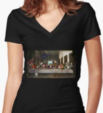 Last Monkey Island Supper Women's Fitted V-Neck T-Shirt