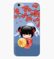Japanese Red Sakura Kokeshi Doll iPhone Case