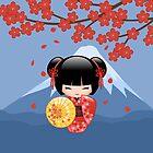 Japanische rote Sakura Kokeshi Puppe von Natalia Linnik