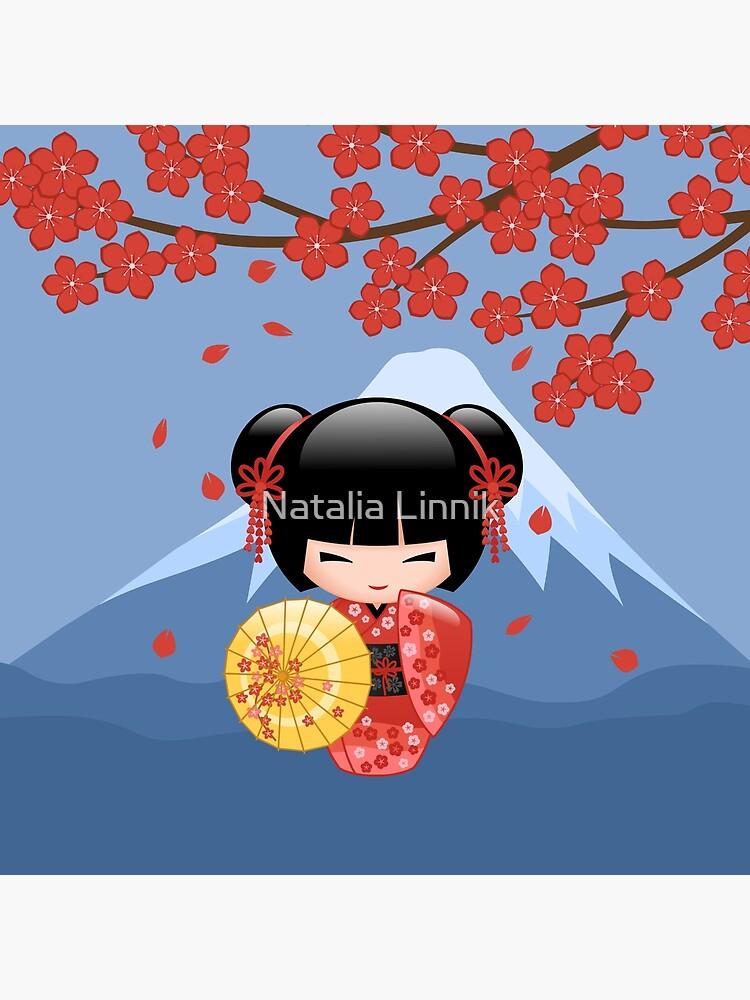 Muñeca japonesa japonesa Sakura Kokeshi de chibibikun