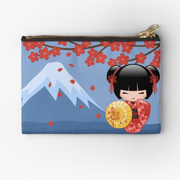 Japanese Red Sakura Kokeshi Doll Zipper Pouch